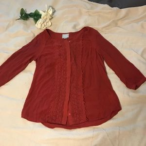 Anthropologie Maeve dark red lace button blouse